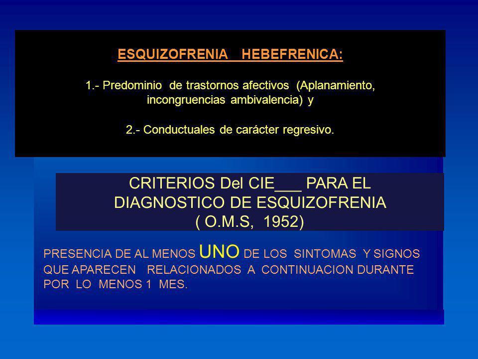 ESQUIZOFRENIA HEBEFRENICA: 1.- Predominio de trastornos afectivos (Aplanamiento, incongruencias ambivalencia) y 2.- Conductuales de carácter regresivo
