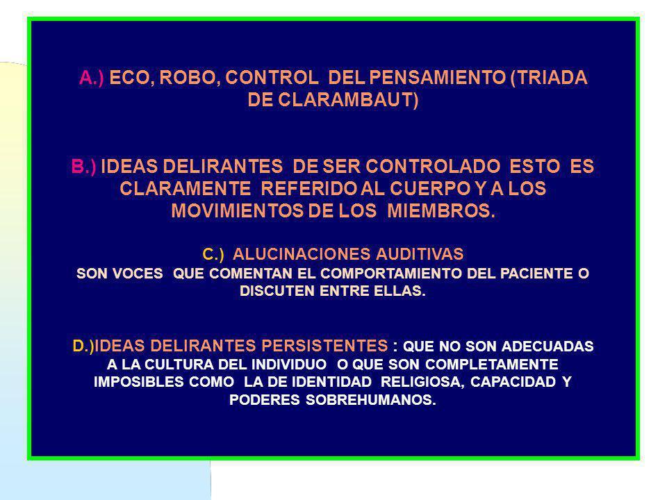 A.) ECO, ROBO, CONTROL DEL PENSAMIENTO (TRIADA DE CLARAMBAUT) B.) IDEAS DELIRANTES DE SER CONTROLADO ESTO ES CLARAMENTE REFERIDO AL CUERPO Y A LOS MOV