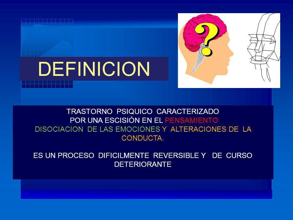 DEFINICION TRASTORNO PSIQUICO CARACTERIZADO POR UNA ESCISIÓN EN EL PENSAMIENTO DISOCIACION DE LAS EMOCIONES Y ALTERACIONES DE LA CONDUCTA. ES UN PROCE