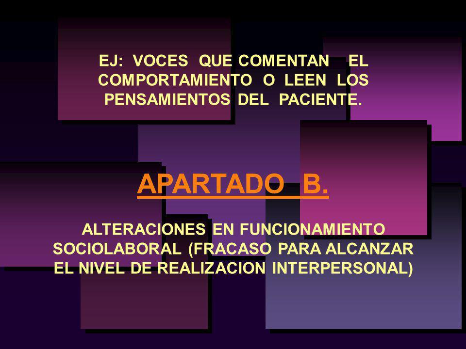 EJ: VOCES QUE COMENTAN EL COMPORTAMIENTO O LEEN LOS PENSAMIENTOS DEL PACIENTE. APARTADO B. ALTERACIONES EN FUNCIONAMIENTO SOCIOLABORAL (FRACASO PARA A