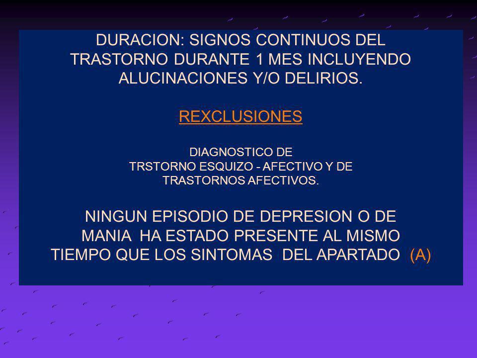 DURACION: SIGNOS CONTINUOS DEL TRASTORNO DURANTE 1 MES INCLUYENDO ALUCINACIONES Y/O DELIRIOS. REXCLUSIONES DIAGNOSTICO DE TRSTORNO ESQUIZO - AFECTIVO
