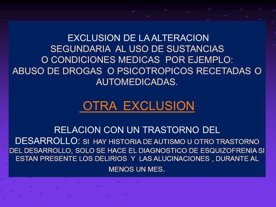 EXCLUSION DE LA ALTERACION SEGUNDARIA AL USO DE SUSTANCIAS O CONDICIONES MEDICAS POR EJEMPLO: ABUSO DE DROGAS O PSICOTROPICOS RECETADAS O AUTOMEDICADA