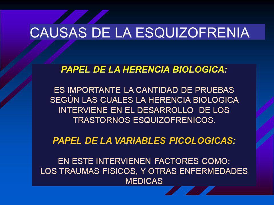 CAUSAS DE LA ESQUIZOFRENIA PAPEL DE LA HERENCIA BIOLOGICA: ES IMPORTANTE LA CANTIDAD DE PRUEBAS SEGÚN LAS CUALES LA HERENCIA BIOLOGICA INTERVIENE EN E