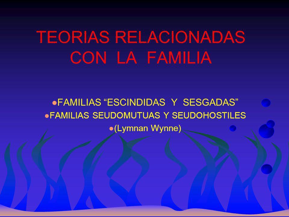 TEORIAS RELACIONADAS CON LA FAMILIA FAMILIAS ESCINDIDAS Y SESGADAS FAMILIAS SEUDOMUTUAS Y SEUDOHOSTILES (Lymnan Wynne)