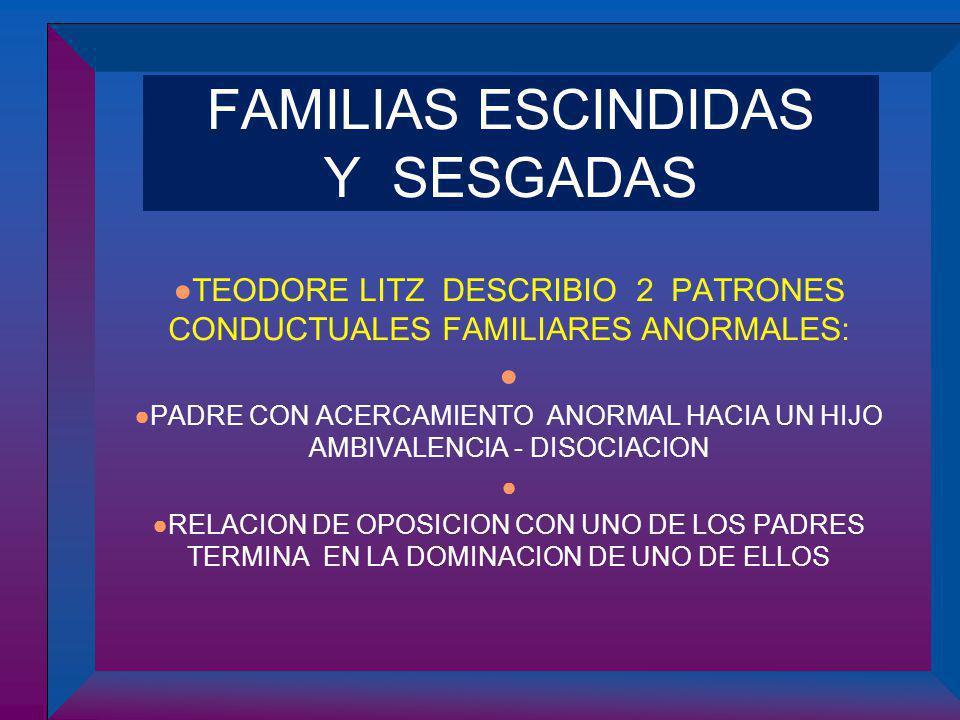 FAMILIAS ESCINDIDAS Y SESGADAS TEODORE LITZ DESCRIBIO 2 PATRONES CONDUCTUALES FAMILIARES ANORMALES: PADRE CON ACERCAMIENTO ANORMAL HACIA UN HIJO AMBIV