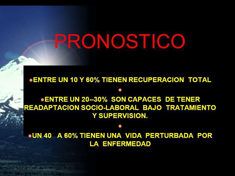 PRONOSTICO ENTRE UN 10 Y 60% TIENEN RECUPERACION TOTAL ENTRE UN 20--30% SON CAPACES DE TENER READAPTACION SOCIO-LABORAL BAJO TRATAMIENTO Y SUPERVISION