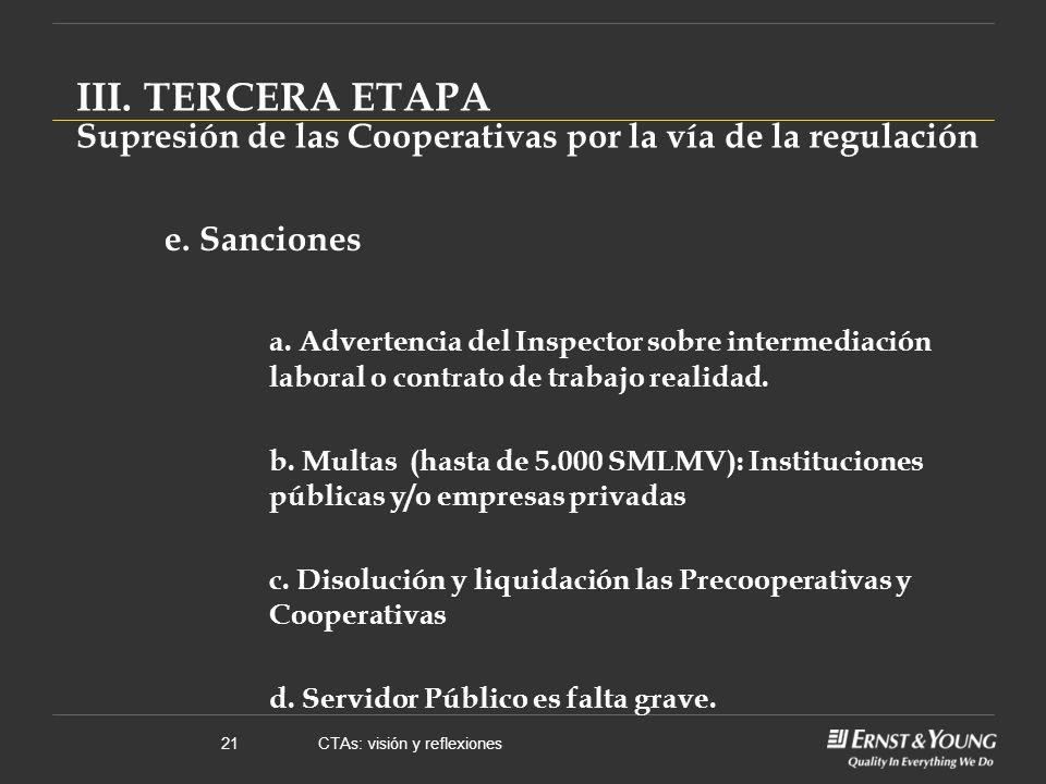 CTAs: visión y reflexiones21 e. Sanciones a.