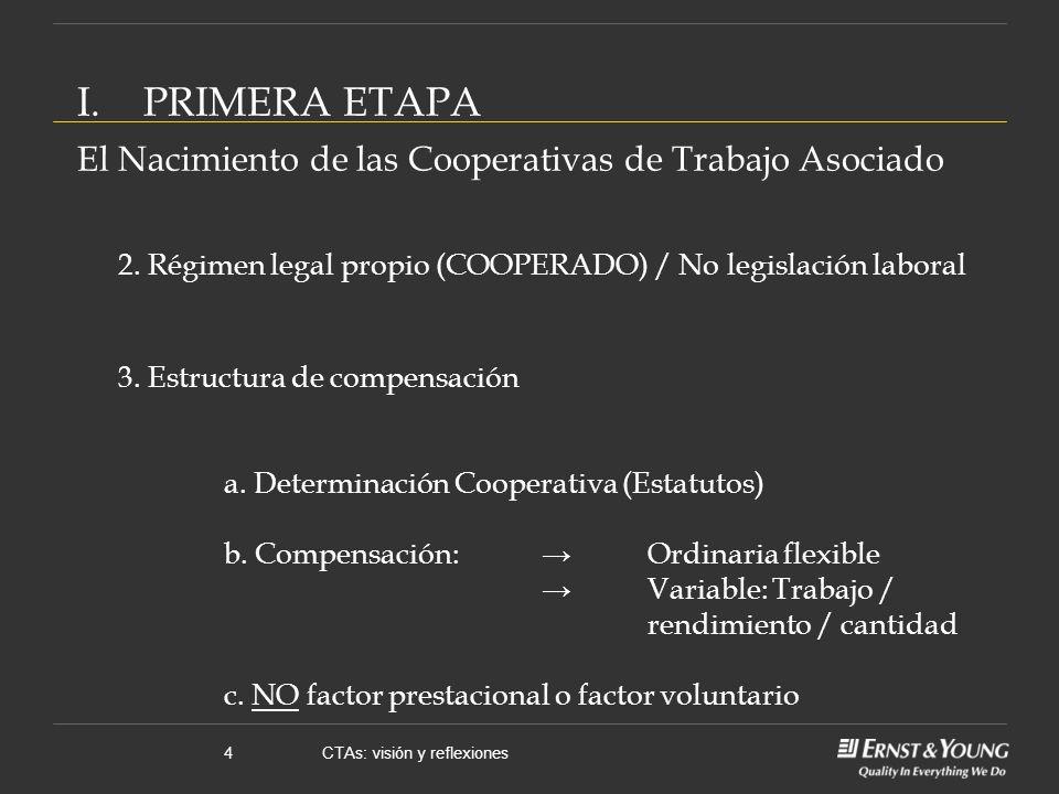 CTAs: visión y reflexiones4 2. Régimen legal propio (COOPERADO) / No legislación laboral 3.