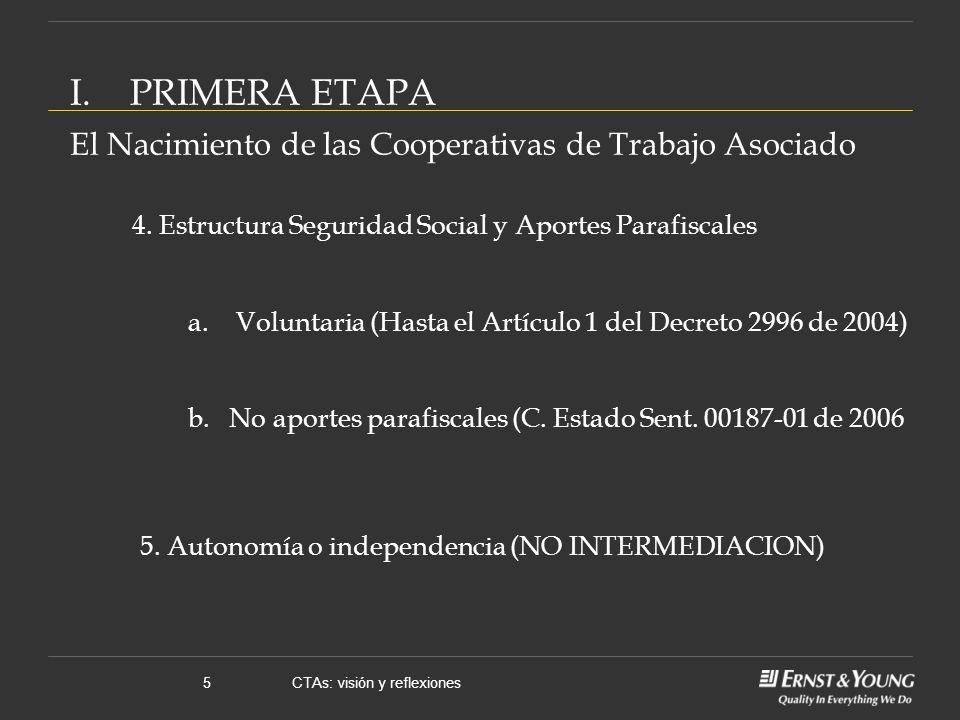 CTAs: visión y reflexiones5 I.PRIMERA ETAPA El Nacimiento de las Cooperativas de Trabajo Asociado 4.
