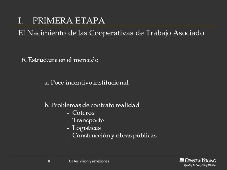 CTAs: visión y reflexiones6 I.PRIMERA ETAPA El Nacimiento de las Cooperativas de Trabajo Asociado 6.
