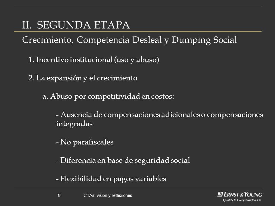 CTAs: visión y reflexiones8 II. SEGUNDA ETAPA Crecimiento, Competencia Desleal y Dumping Social 1.