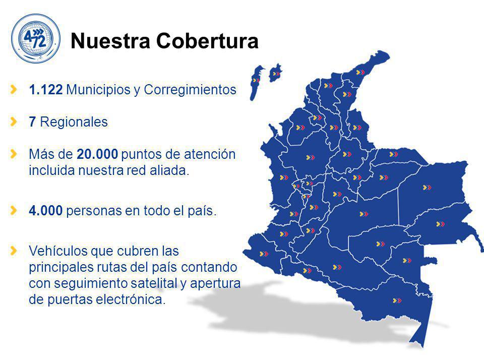 Nuestra Cobertura 1.122 Municipios y Corregimientos 7 Regionales Más de 20.000 puntos de atención incluida nuestra red aliada.