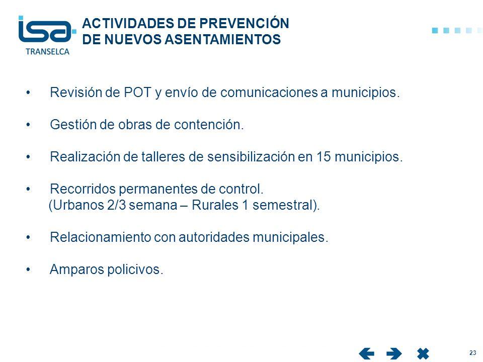 IC 23 Revisión de POT y envío de comunicaciones a municipios. Gestión de obras de contención. Realización de talleres de sensibilización en 15 municip
