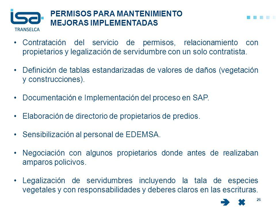 PERMISOS PARA MANTENIMIENTO MEJORAS IMPLEMENTADAS 26 Contratación del servicio de permisos, relacionamiento con propietarios y legalización de servidu