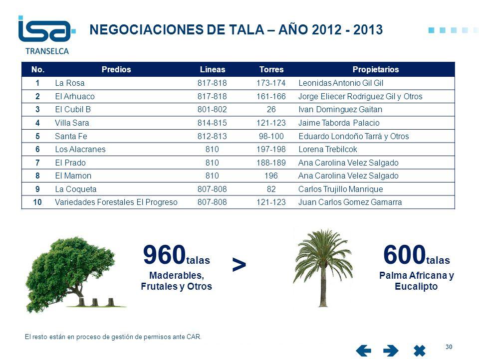 NEGOCIACIONES DE TALA – AÑO 2012 - 2013 30 El resto están en proceso de gestión de permisos ante CAR. No.PrediosLíneasTorresPropietarios 1La Rosa817-8