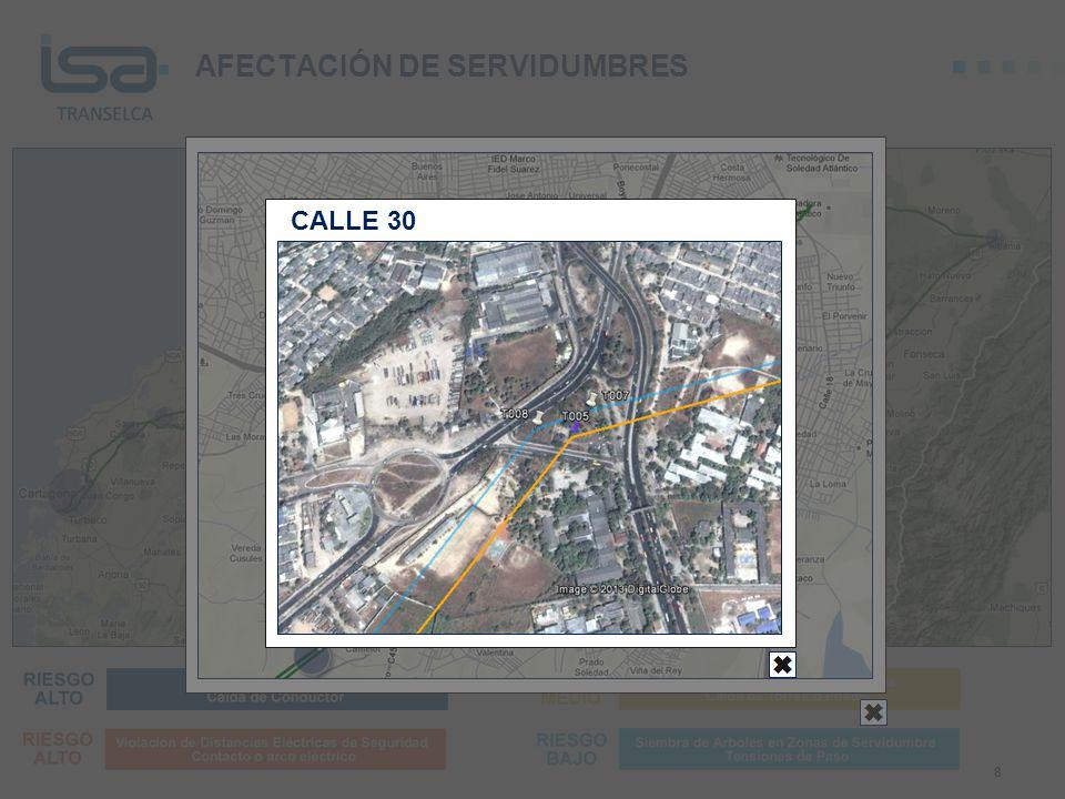 AFECTACIÓN DE SERVIDUMBRES 8 CALLE 30