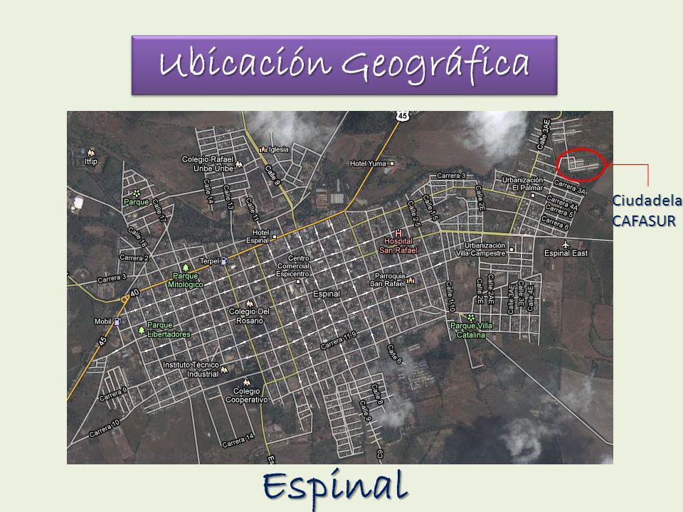 Ubicación Geográfica CiudadelaCAFASUR Espinal