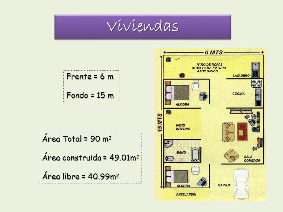 ViviendasViviendas Área Total = 90 m 2 Área construida = 49.01m 2 Área libre = 40.99m 2 Frente = 6 m Fondo = 15 m
