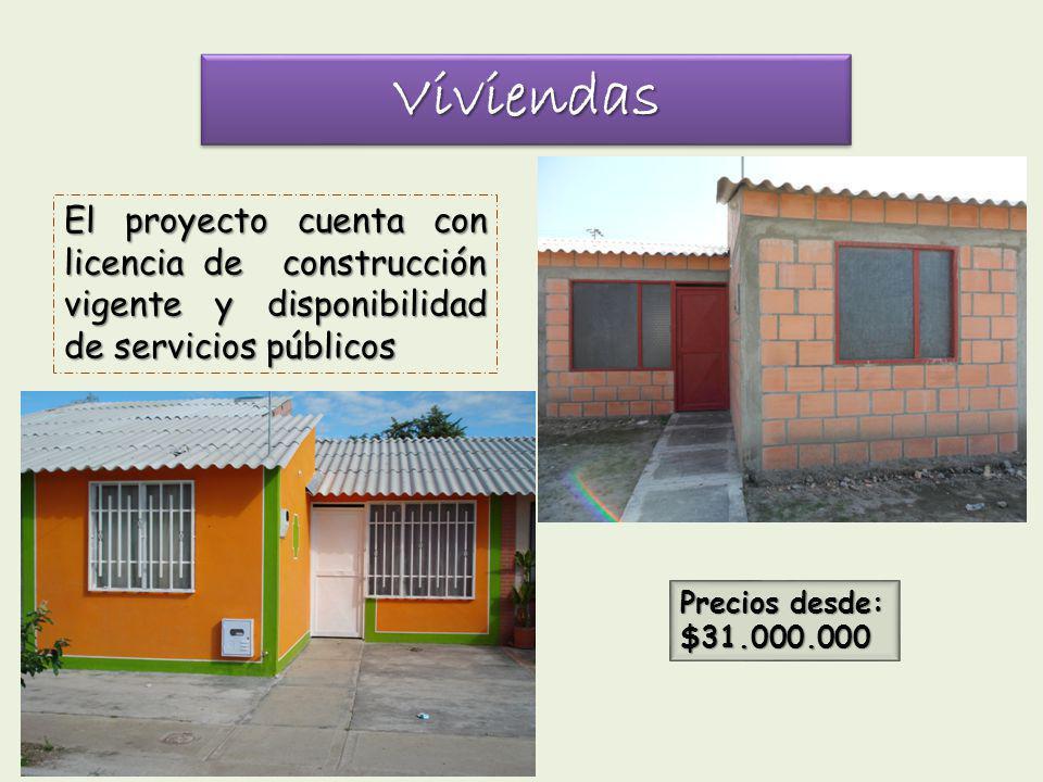 ViviendasViviendas El proyecto cuenta con licencia de construcción vigente y disponibilidad de servicios públicos Precios desde: $31.000.000