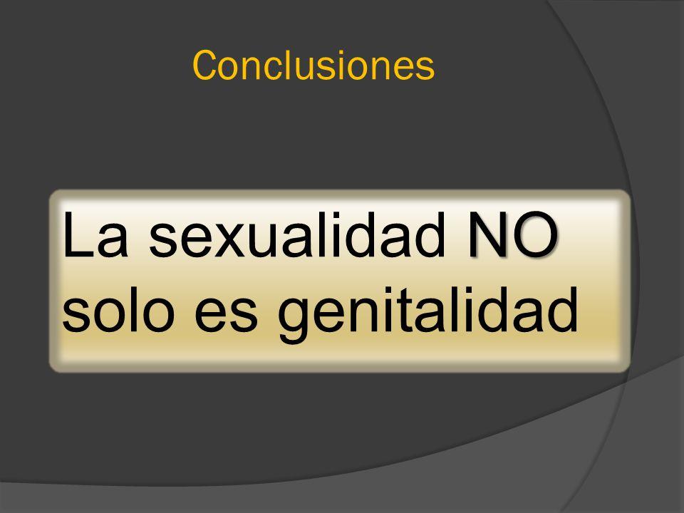Conclusiones NO La sexualidad NO solo es genitalidad