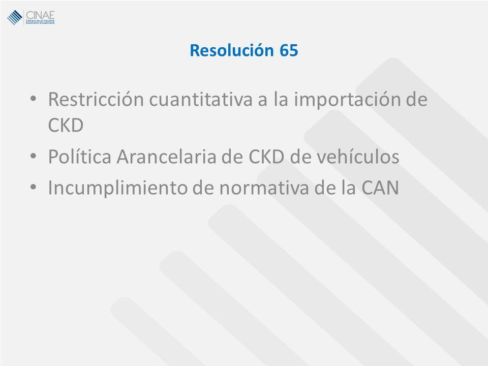 Resolución 65 Restricción cuantitativa a la importación de CKD Política Arancelaria de CKD de vehículos Incumplimiento de normativa de la CAN