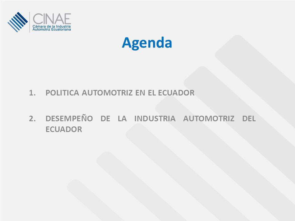 1.POLITICA AUTOMOTRIZ EN EL ECUADOR 2.DESEMPEÑO DE LA INDUSTRIA AUTOMOTRIZ DEL ECUADOR Agenda