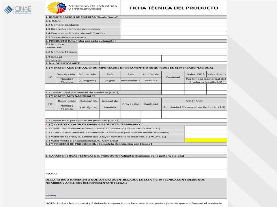 Porcentaje de Material Originario Ecuatoriano (MOE) Mediante los acuerdos ministeriales N° 12043, 12107 y 12021 de fechas 31 de enero, 23 de marzo y 26 de enero del presente año, se estableció los porcentajes de MOE para los vehículos ensamblados por cada una de las ensambladoras, así como las correspondientes reducciones del arancel a ser aplicadas a las importaciones de los respectivos CKDs.