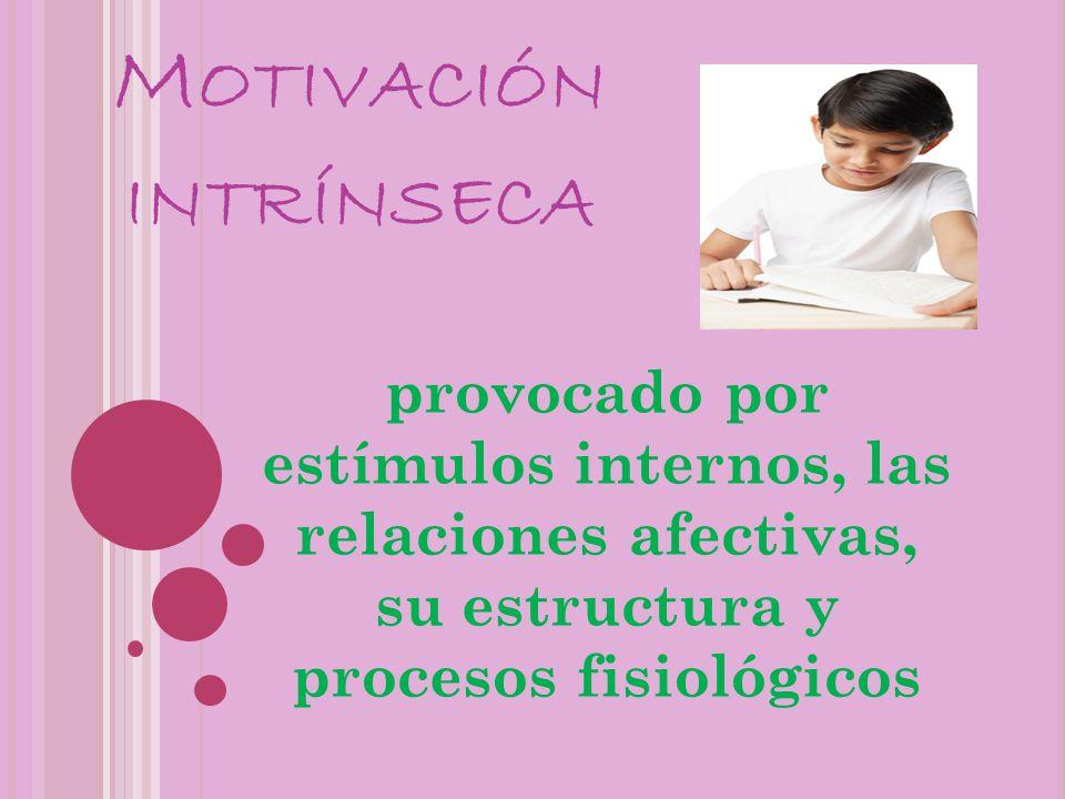 M OTIVACIÓN INTRÍNSECA provocado por estímulos internos, las relaciones afectivas, su estructura y procesos fisiológicos