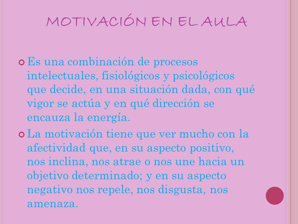 MOTIVACIÓN EN EL AULA Es una combinación de procesos intelectuales, fisiológicos y psicológicos que decide, en una situación dada, con qué vigor se actúa y en qué dirección se encauza la energía.