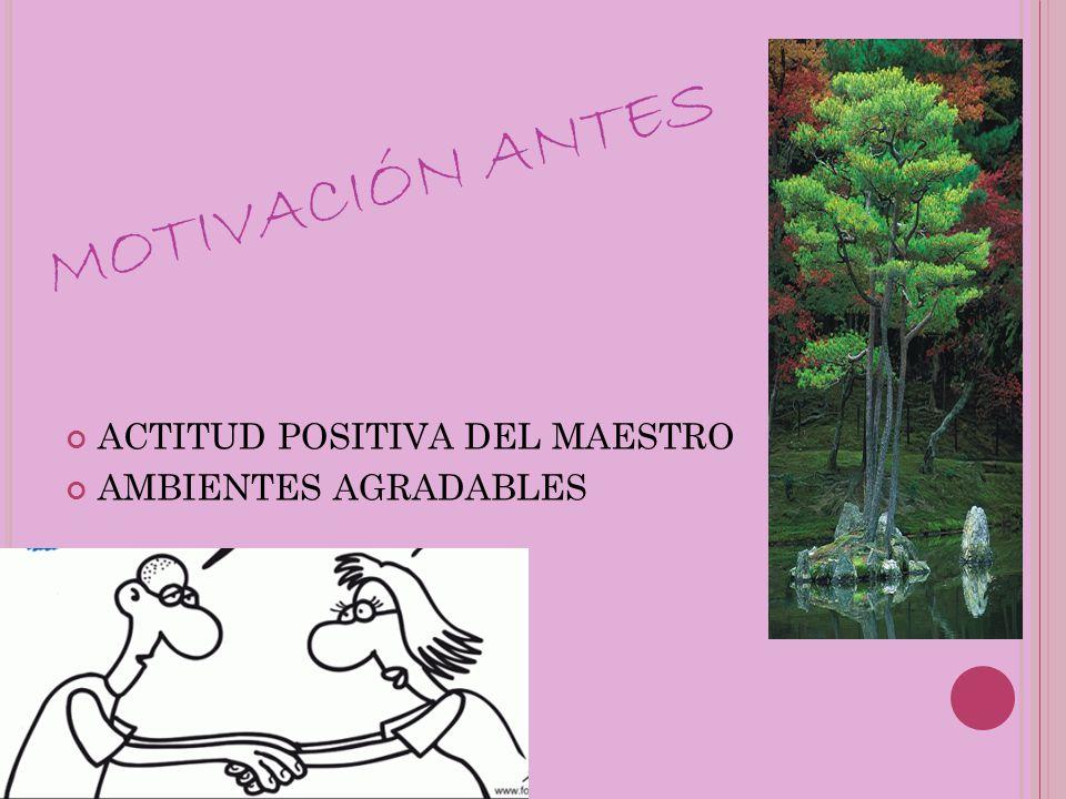 MOTIVACIÓN ANTES ACTITUD POSITIVA DEL MAESTRO AMBIENTES AGRADABLES