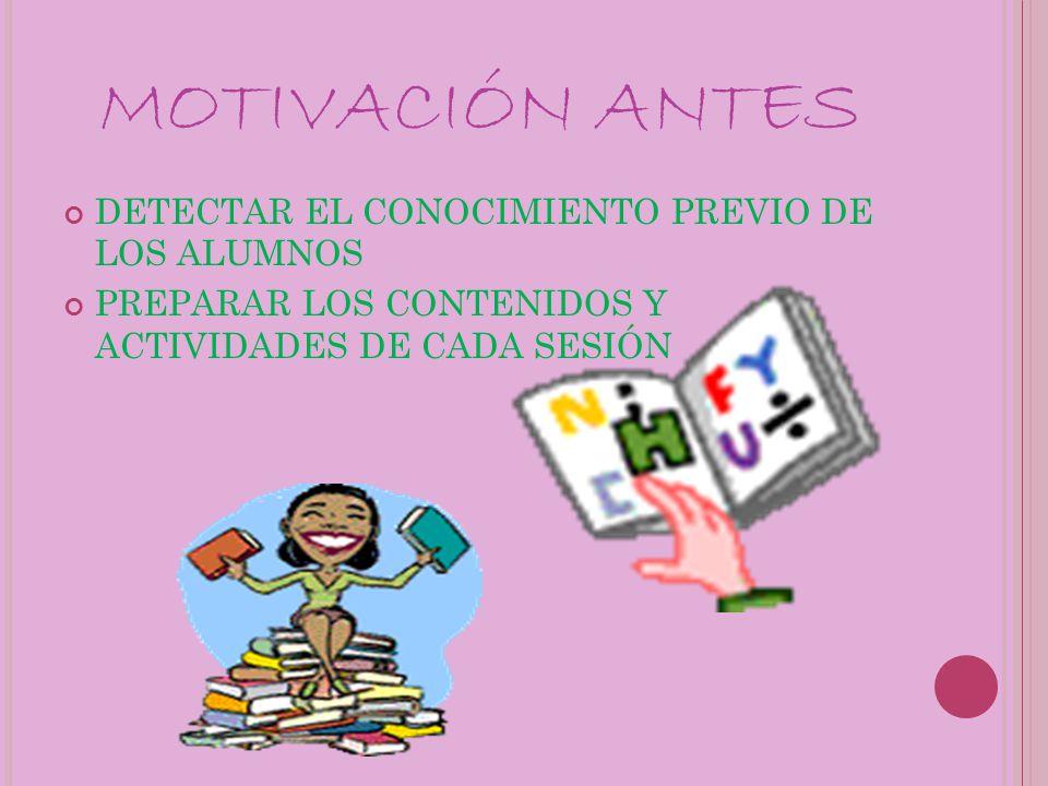MOTIVACIÓN ANTES DETECTAR EL CONOCIMIENTO PREVIO DE LOS ALUMNOS PREPARAR LOS CONTENIDOS Y ACTIVIDADES DE CADA SESIÓN