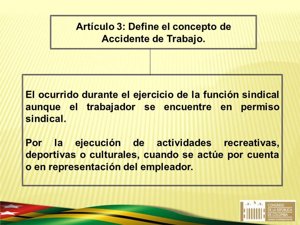 El ocurrido durante el ejercicio de la función sindical aunque el trabajador se encuentre en permiso sindical. Por la ejecución de actividades recreat