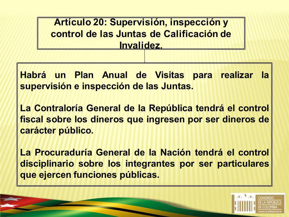 Habrá un Plan Anual de Visitas para realizar la supervisión e inspección de las Juntas. La Contraloría General de la República tendrá el control fisca