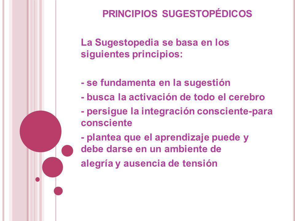 PRINCIPIOS SUGESTOPÉDICOS La Sugestopedia se basa en los siguientes principios: - se fundamenta en la sugestión - busca la activación de todo el cereb