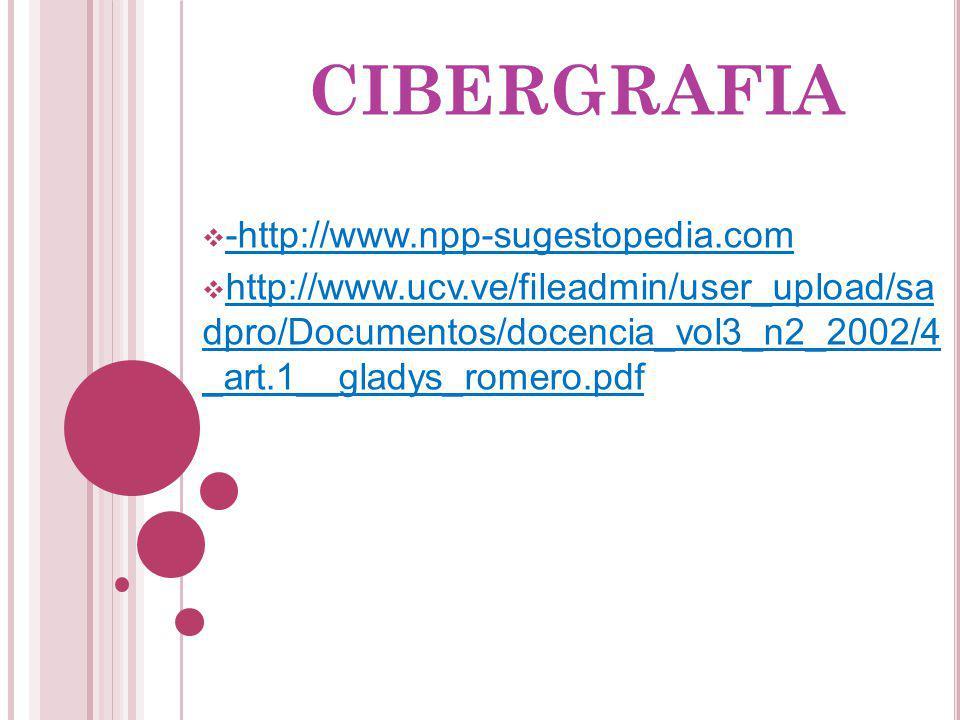 CIBERGRAFIA -http://www.npp-sugestopedia.com http://www.ucv.ve/fileadmin/user_upload/sa dpro/Documentos/docencia_vol3_n2_2002/4 _art.1__gladys_romero.
