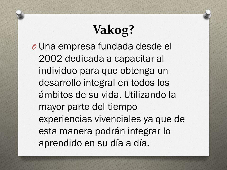 Vakog? O Una empresa fundada desde el 2002 dedicada a capacitar al individuo para que obtenga un desarrollo integral en todos los ámbitos de su vida.