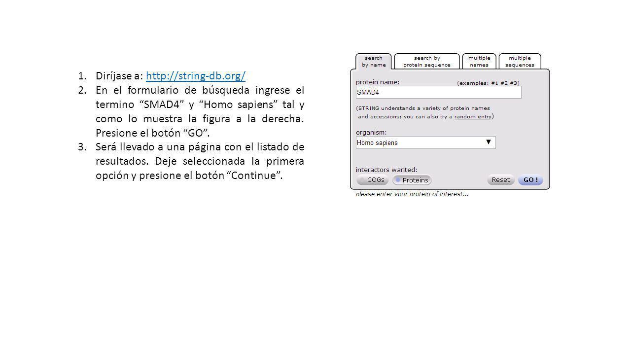 1.Diríjase a: http://string-db.org/http://string-db.org/ 2.En el formulario de búsqueda ingrese el termino SMAD4 y Homo sapiens tal y como lo muestra la figura a la derecha.