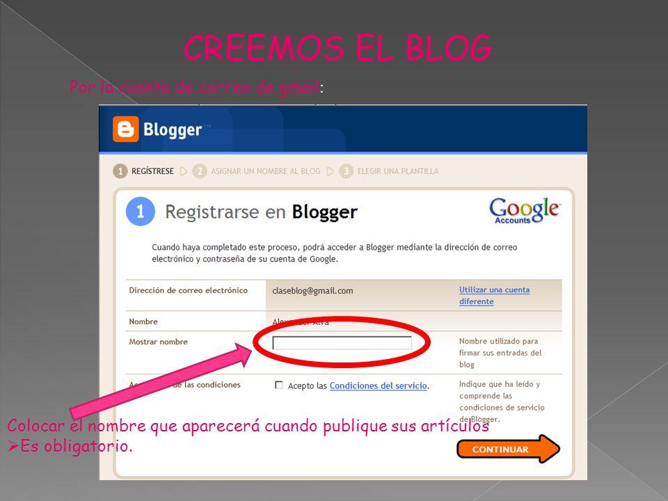 CREEMOS EL BLOG Por la cuenta de correo de gmail : Colocar el nombre que aparecerá cuando publique sus artículos Es obligatorio.