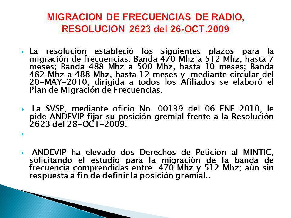 La resolución estableció los siguientes plazos para la migración de frecuencias: Banda 470 Mhz a 512 Mhz, hasta 7 meses; Banda 488 Mhz a 500 Mhz, hasta 10 meses; Banda 482 Mhz a 488 Mhz, hasta 12 meses y mediante circular del 20-MAY-2010, dirigida a todos los Afiliados se elaboró el Plan de Migración de Frecuencias.