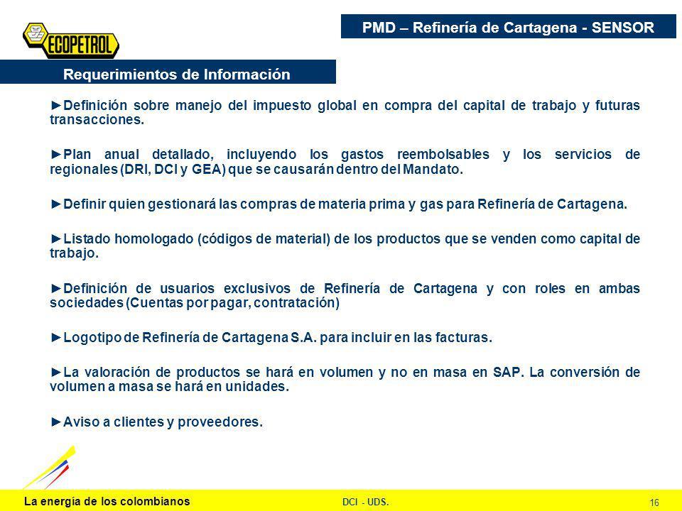 La energía de los colombianos DCI - UDS. 16 PMD – Refinería de Cartagena - SENSOR Definición sobre manejo del impuesto global en compra del capital de