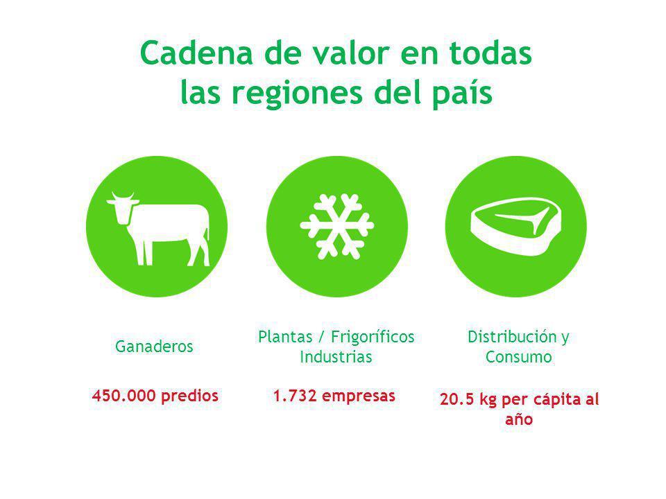Cadena de valor en todas las regiones del país Ganaderos Plantas / Frigoríficos Industrias Distribución y Consumo 450.000 predios1.732 empresas 20.5 k