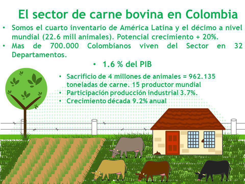 Somos el cuarto inventario de América Latina y el décimo a nivel mundial (22.6 mill animales). Potencial crecimiento + 20%. Mas de 700.000 Colombianos