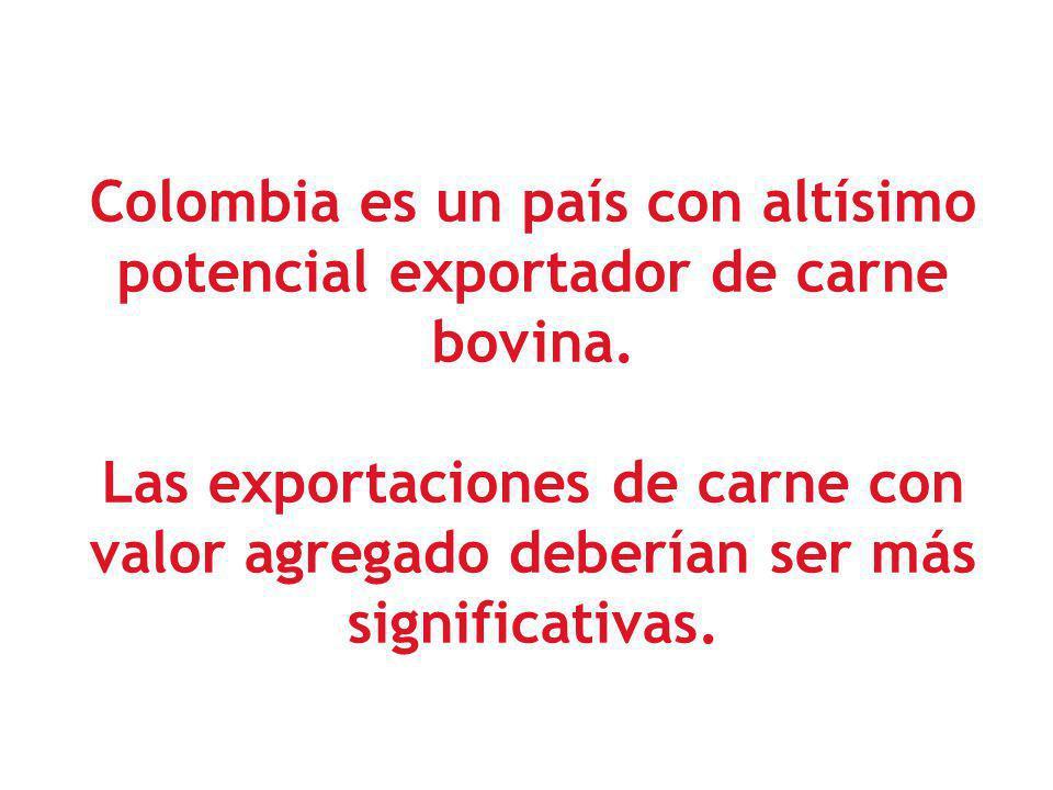 Colombia es un país con altísimo potencial exportador de carne bovina. Las exportaciones de carne con valor agregado deberían ser más significativas.