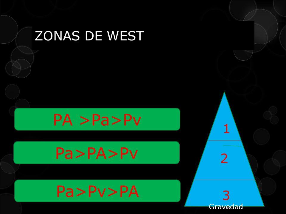 ZONAS DE WEST PA >Pa>Pv 2 1 3 Pa>PA>Pv Pa>Pv>PA Gravedad