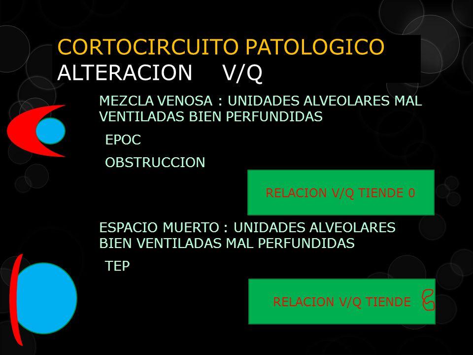 CORTOCIRCUITO PATOLOGICO ALTERACION V/Q MEZCLA VENOSA : UNIDADES ALVEOLARES MAL VENTILADAS BIEN PERFUNDIDAS EPOC OBSTRUCCION ESPACIO MUERTO : UNIDADES ALVEOLARES BIEN VENTILADAS MAL PERFUNDIDAS TEP RELACION V/Q TIENDE 0 RELACION V/Q TIENDE