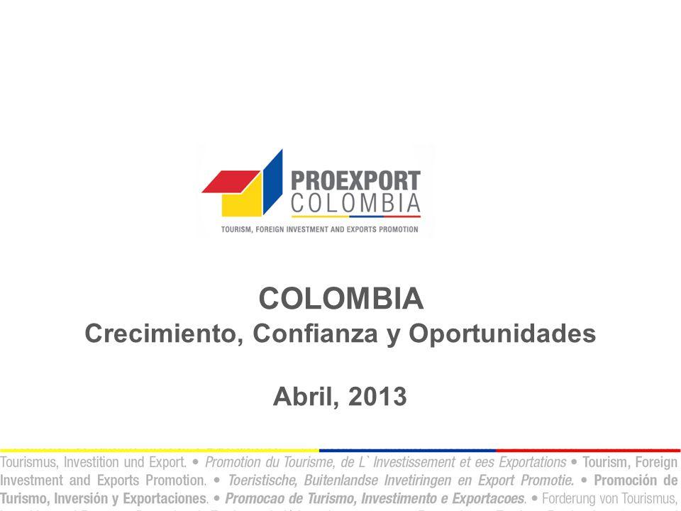COLOMBIA Crecimiento, Confianza y Oportunidades Abril, 2013