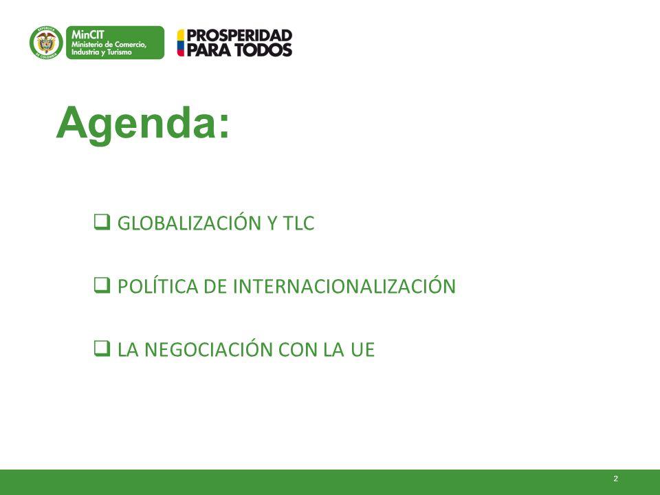 2 Agenda: GLOBALIZACIÓN Y TLC POLÍTICA DE INTERNACIONALIZACIÓN LA NEGOCIACIÓN CON LA UE