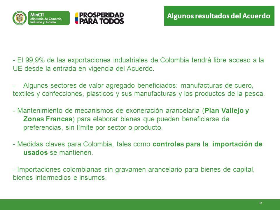 Algunos resultados del Acuerdo - El 99,9% de las exportaciones industriales de Colombia tendrá libre acceso a la UE desde la entrada en vigencia del A