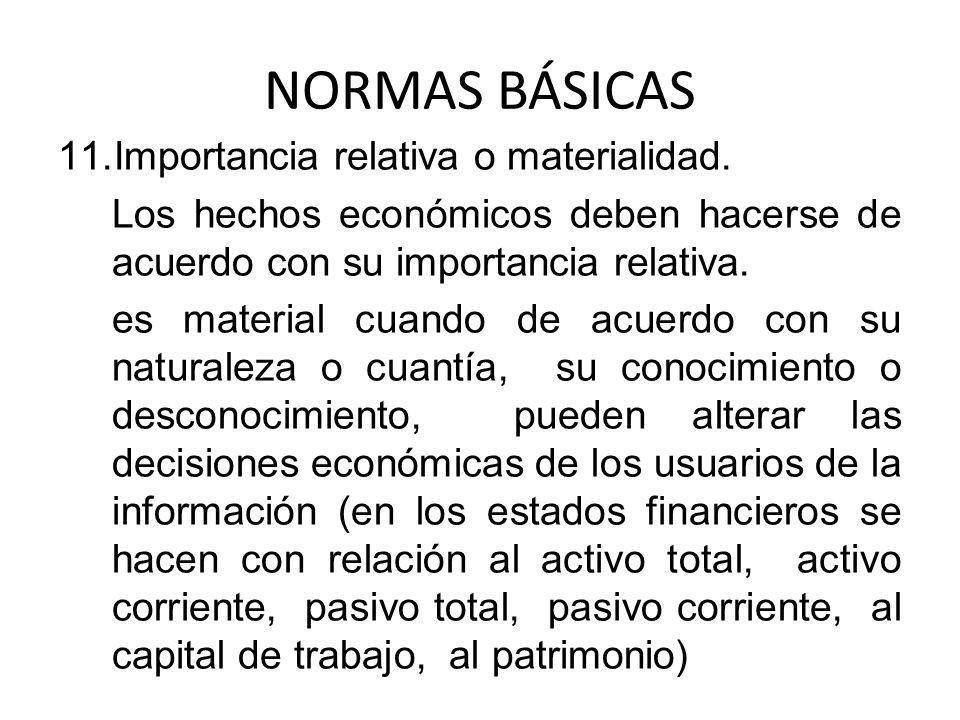 NORMAS BÁSICAS 11.Importancia relativa o materialidad. Los hechos económicos deben hacerse de acuerdo con su importancia relativa. es material cuando