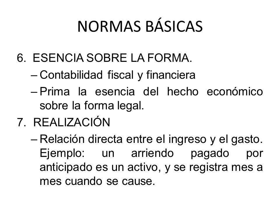 NORMAS BÁSICAS 6.ESENCIA SOBRE LA FORMA. –Contabilidad fiscal y financiera –Prima la esencia del hecho económico sobre la forma legal. 7. REALIZACIÓN